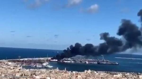 الجيش الليبي يقصف سفينة أسلحة تركية في ميناء طرابلس