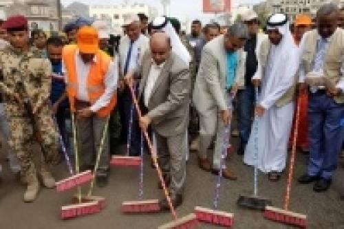 انطلاق حملة نظافة شاملة في عدن بمشاركة الهلال الإمارتي