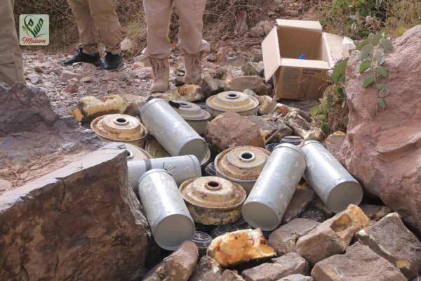مشروع مسام يتلف مخلفات الحوثي من الألغام  في لحج والضالع