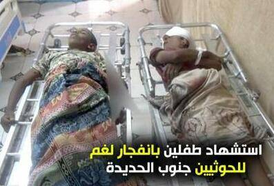 إستشهاد طفلين شقيقين بإنفجار لغم حوثي  جنوب الدريهمي بمحافظة الحديدة