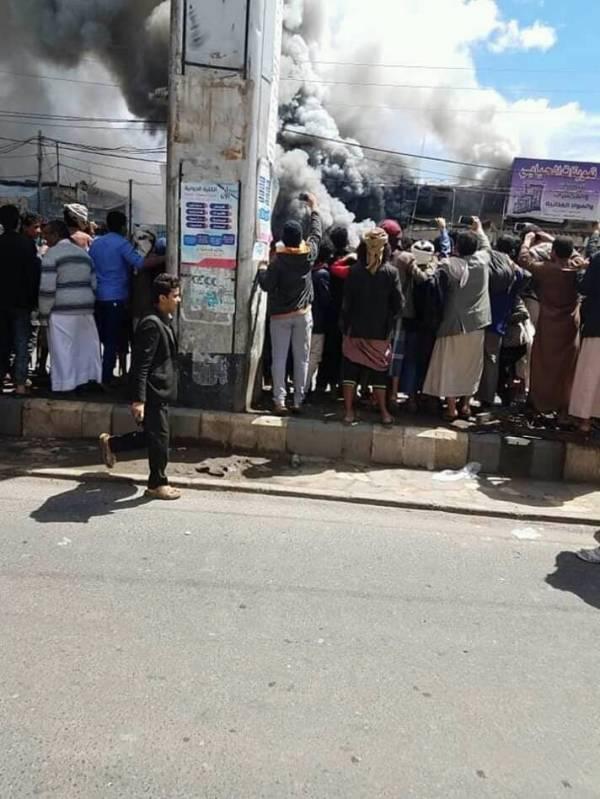 حريق هائل في سوق شمال العاصمة صنعاء.. وهذا هو السبب!
