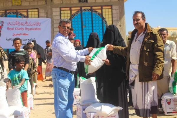 تدشين توزيع 1000 سلة غذائية  لنازحي الحديدة في قعطبة بمحافظة الضالع