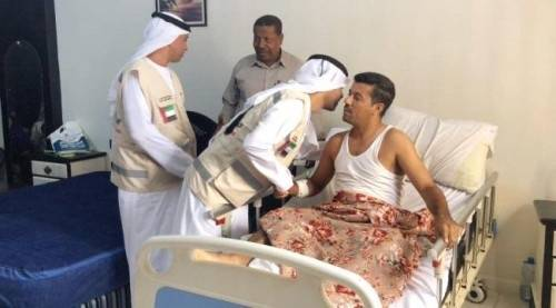 الهلال الإماراتي يطمئن على صحة المصابين الإعلاميين &#34الجنيد والنقيب&#34 جراء حادثة العند