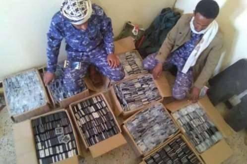 أمن مأرب يضبط تلفونات مهربة كانت في طريقها الى العاصمة صنعاء